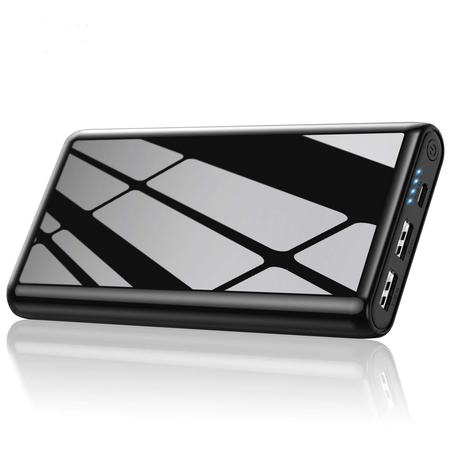 Portable Charger Power Bank 25800mAh Feob Ultra-High Capacity Portable Phone Charger with 4 LED Lights, Dual Output External Battery Pack for Smart Phone, Android Phone, Tablet and More-Black by Feob