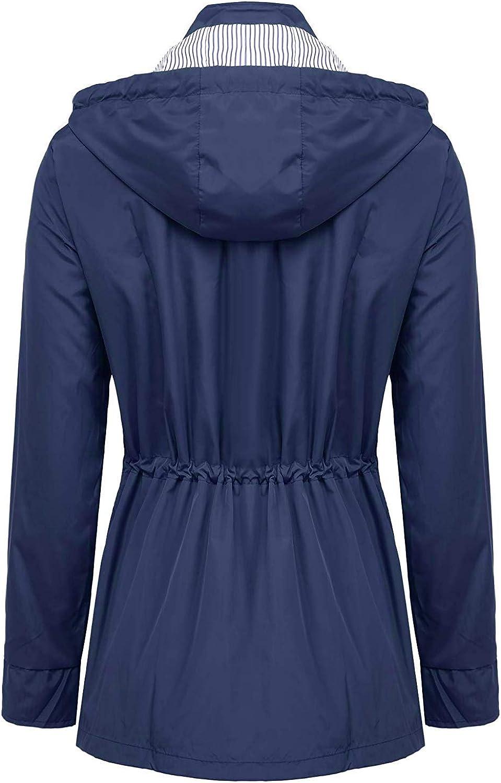 ZEGOLO Womens Raincoats Windbreaker Rain Jacket Waterproof Hooded Outdoor Trench Coats