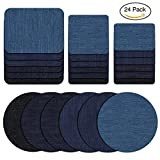 jeans repair kit - 24 Pcs Iron On Denim Patch Cotton Cloth Patches Iron-On Repair Kit for DIY Clothing Jeans Clothes Holes Mending and Decorating,5 by 3-3/6 Inch