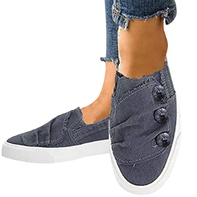 LowProfile Women Slip on Deck Shoes Pleated Button Loafers Canvas Boat Shoe Non Slip Casual Loafer Flat Walking Sneakers: Clothing