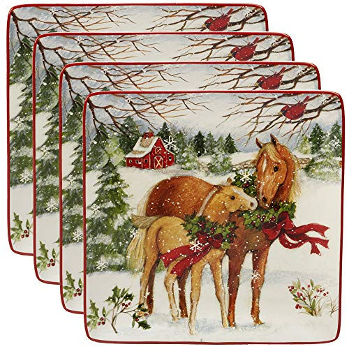 Certified International 22800SET4 Christmas on The Farm 10.5 Dinner Plate, Set of 4, One Size, Mulicolored