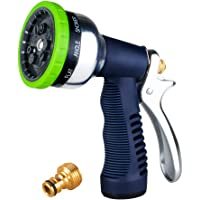 Garden Spray Nozzle, 9-Way Heavy Duty Spray Gun, Rear Trigger Design Hose Spray Nozzle, Anti-Slip Design, Bigger Nozzle Area Upgraded, Perfect for Watering Plants, Cleaning, Car Wash and Showing Pets