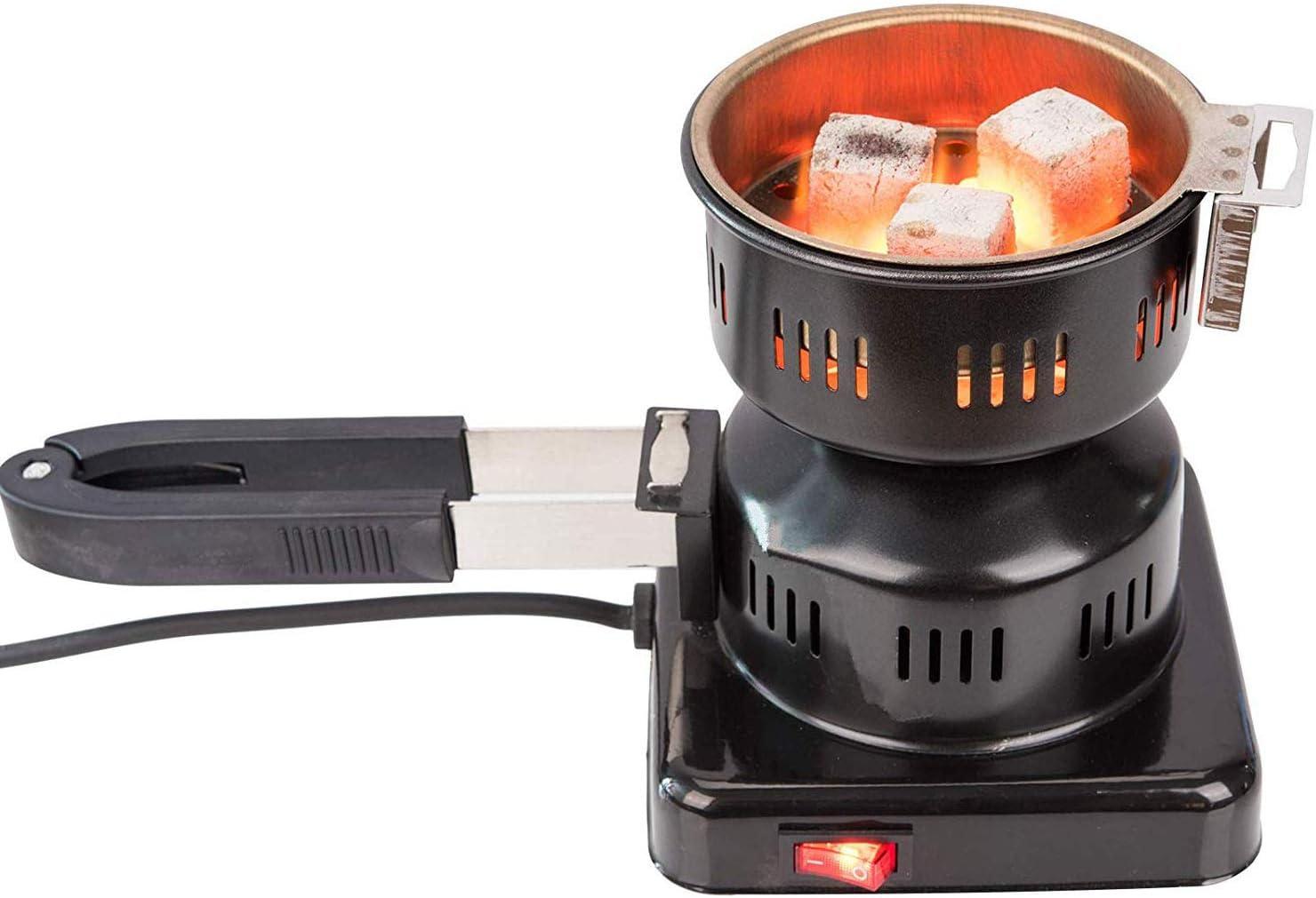 RMAN® - Encendedor eléctrico de carbón para shisha de 450 W, quemador de carbón con mango extraíble y multifuncional