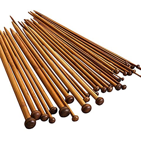 NUOMI 36 Pieces Bamboo Knitting Needles Set (18 Sizes from 2.0mm to 10.0mm), Single Pointed Carbonized Knitting (Large Needle Point Set)