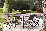 Cheap Cosco Outdoor Dining Set with Chair Storage, Folding, 7 Piece, Dark Brown and Red Wicker