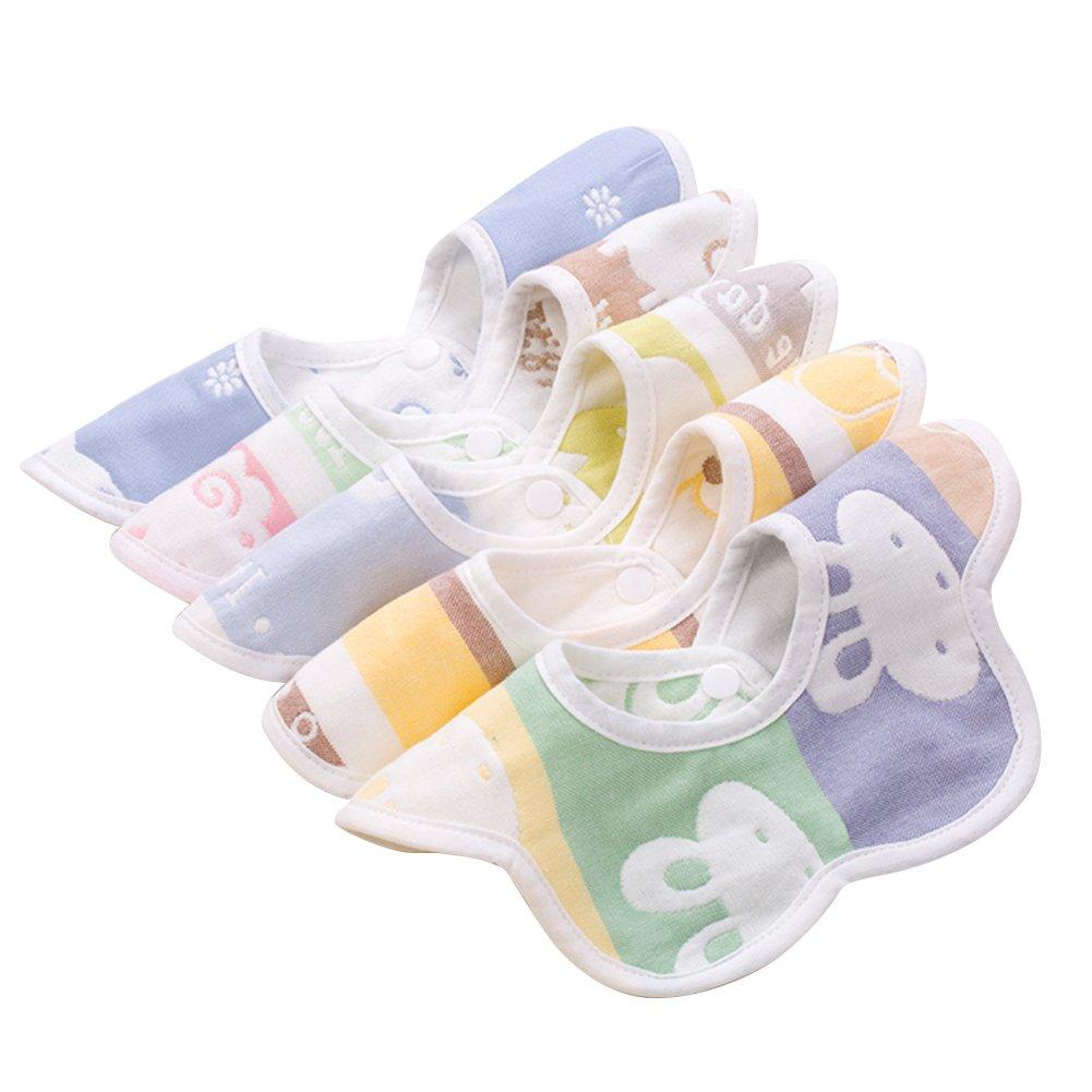 5 Pack cotton bibs baby infant child newborn gauze bib anti-spit milk 360° rotation