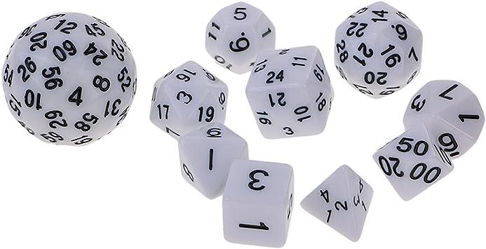 Set de 10 Piezas Dados de Varios Lados para Juegos de Mesa Mazmorras y Dragones Juegos de MTG RPG - Blanco: Amazon.es: Juguetes y juegos