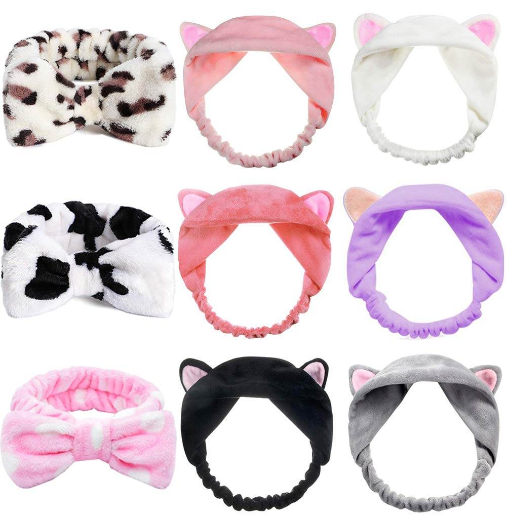 9 Pack Facial Bow Hair Band and Cat Ear Hairband, Washing Face Shower Headbands, Bowknot Makeup Hairbands, Beauty Lovely Spa Headbands for Women Girls Running Sport Washing Face Shower Spa Mask