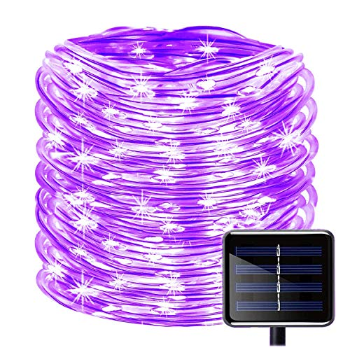 WONFAST 100 LEDs Solar Rope String Lights, Waterproof 39ft/12M Copper Wire Outdoor Tube Fairy String Lights for Christmas Garden Yard Path Fence Tree Backyard (Purple)
