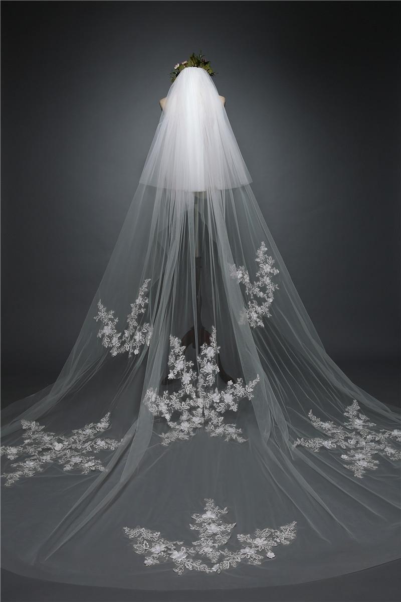 Lydia Wedding veil long lace bridal veil 3 m handmade snowflake long tail mural veil + comb , ivory , 3m