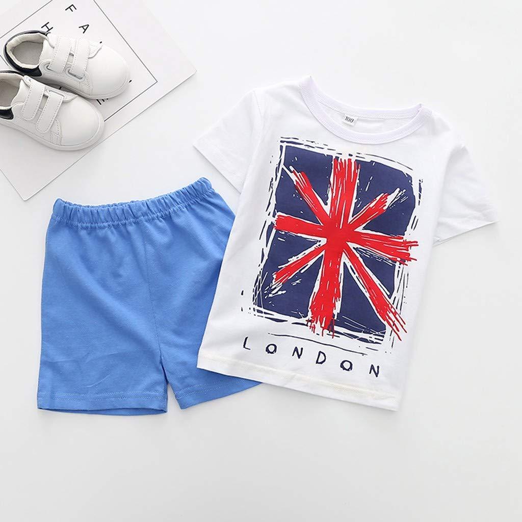 Hstore Baby Clothes Boy Girl Children Kids Boys Short Sleeve Flag Letter T-Shirt Tops+Shorts Set Outfit