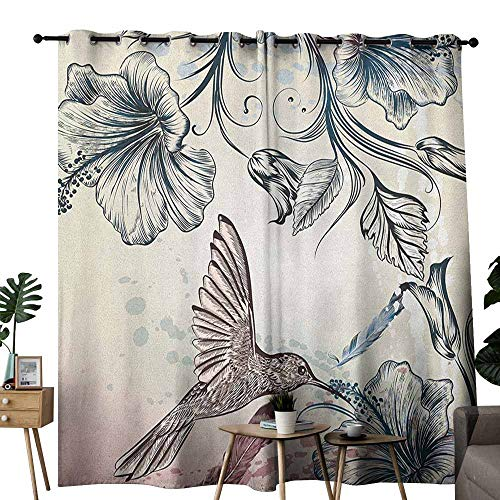 duommhome Hummingbird Drapes for LivingRoom Floral Art in Vintage Style with Hummingbird Hibiscus Flowers and Feathers 70%-80% Light Shading, 2 Panels,W84 x L108 Teal Brown (Red Gold Teal Brown Cd)