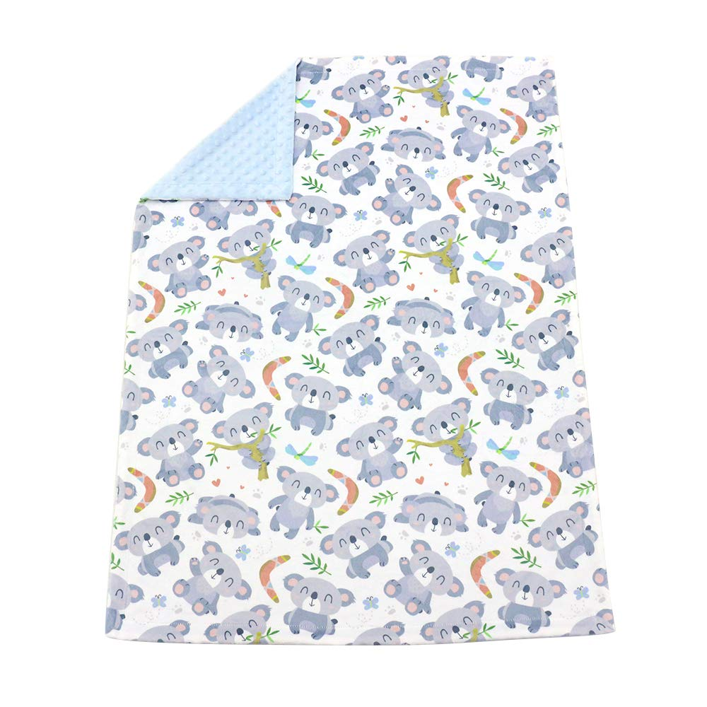 Receiving Blanket Lt Blue Fashion Animal Design Printed 30 x 40 Inch Baby Blanket NS Brook Premium Soft Minky with Double Layer Dotted Backing