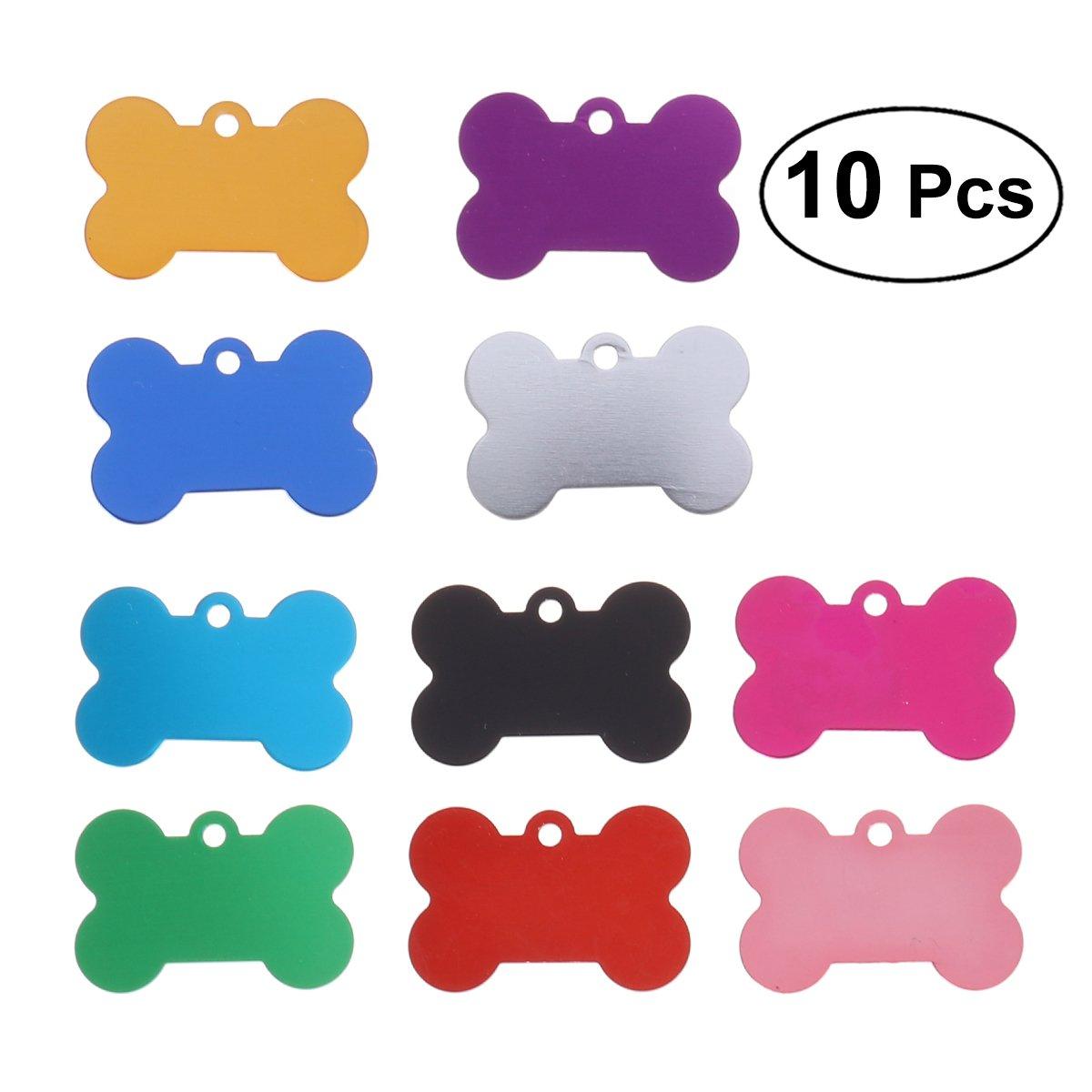 UEETEK Lot de 10Médaille Porte-adresse pour animaux de compagnie Chien Collier Pendentif Étiquette d'identification pour animal domestique