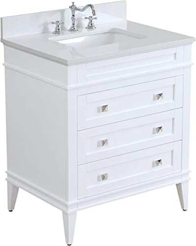Eleanor 30-inch Bathroom Vanity Quartz/White : Includes White Cabinet