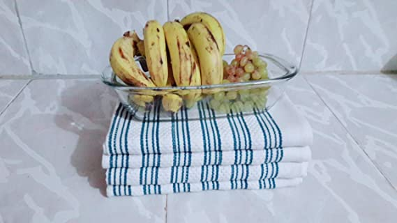 Kitchen tea towels 100% cotton soft and highly absorbent, lint free, blue over white colour, premium quality, elegant basket weave design, and hanging hook. ...