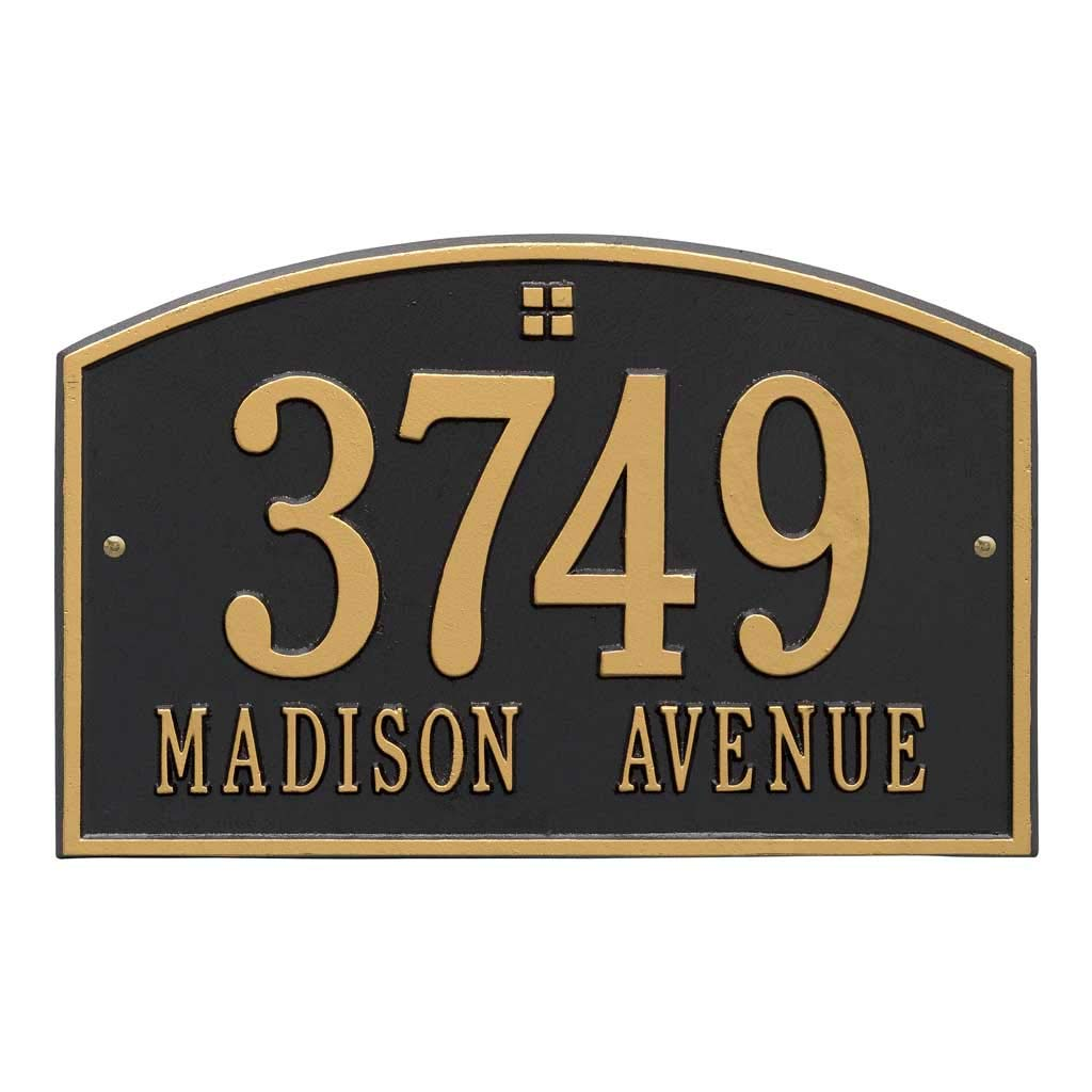 Comfort House Metal Address Plaque Personalized Cast Aluminum with Large Numbers - Display Your Address and Street Name. Custom House Number Sign. Wall Mount. Arch Top P2631
