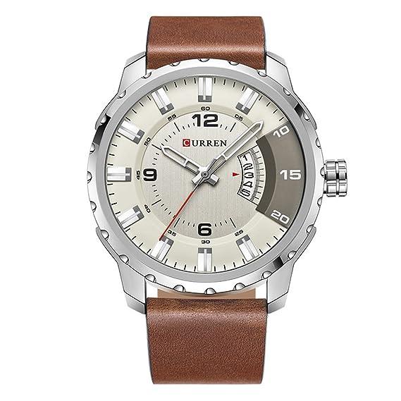 2017 nueva banda de marrón de piel auténtica Curren reloj de pulsera de cuarzo para hombre relojes primera marca black8245: Amazon.es: Relojes