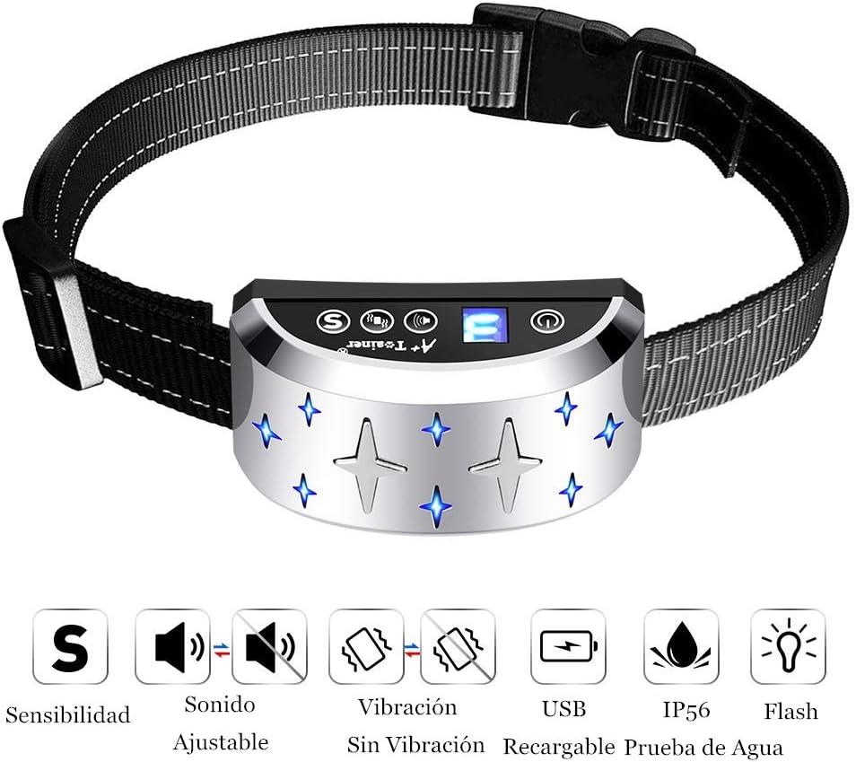 A+ Trainer Collar Antiladridos Perro – Collar Adiestramiento Impermeable CollarElectricoPerro Ajustable para Perros Pequeño Mediano y Grande 7 Niveles de Vibración Progresivos Resistente al Agua