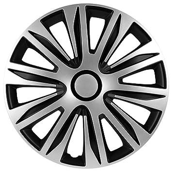 Autostyle PP 5206 Nardo Set de tapacubos, 16 pulgadas, color plata y negro