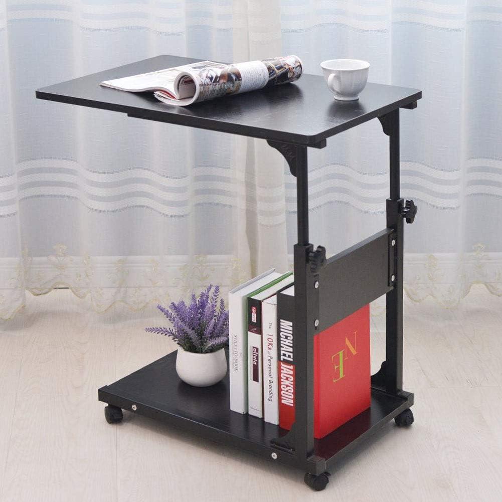ベッドのためにラップトップテーブル、オーバーベッドテーブル、ローリングポータブルノートブックデスクソファサイドテーブルの看護読書朝食、オーバーベッドテーブル高さ調節
