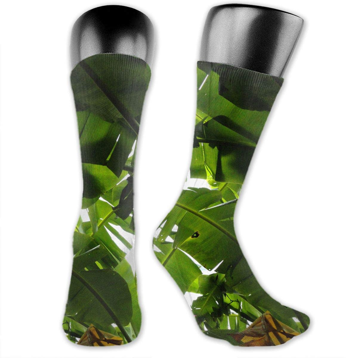 OLGCZM Banana Tree Leaves Pattern Men Womens Thin High Ankle Casual Socks Fit Outdoor Hiking Trail