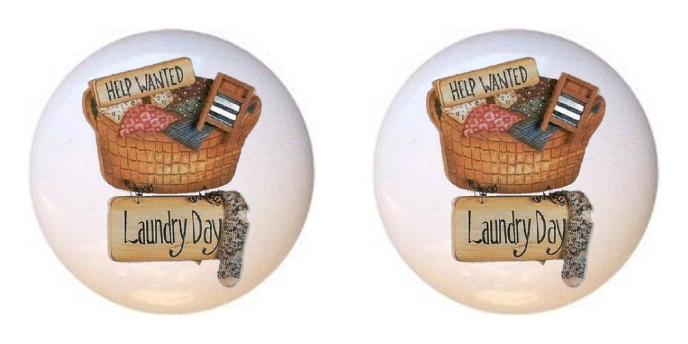 SET OF 2 KNOBS - Design #726103 Help Wanted Laundry Day - Laundry Room - DECORATIVE Glossy CERAMIC Cupboard Cabinet PULLS Dresser Drawer KNOBS