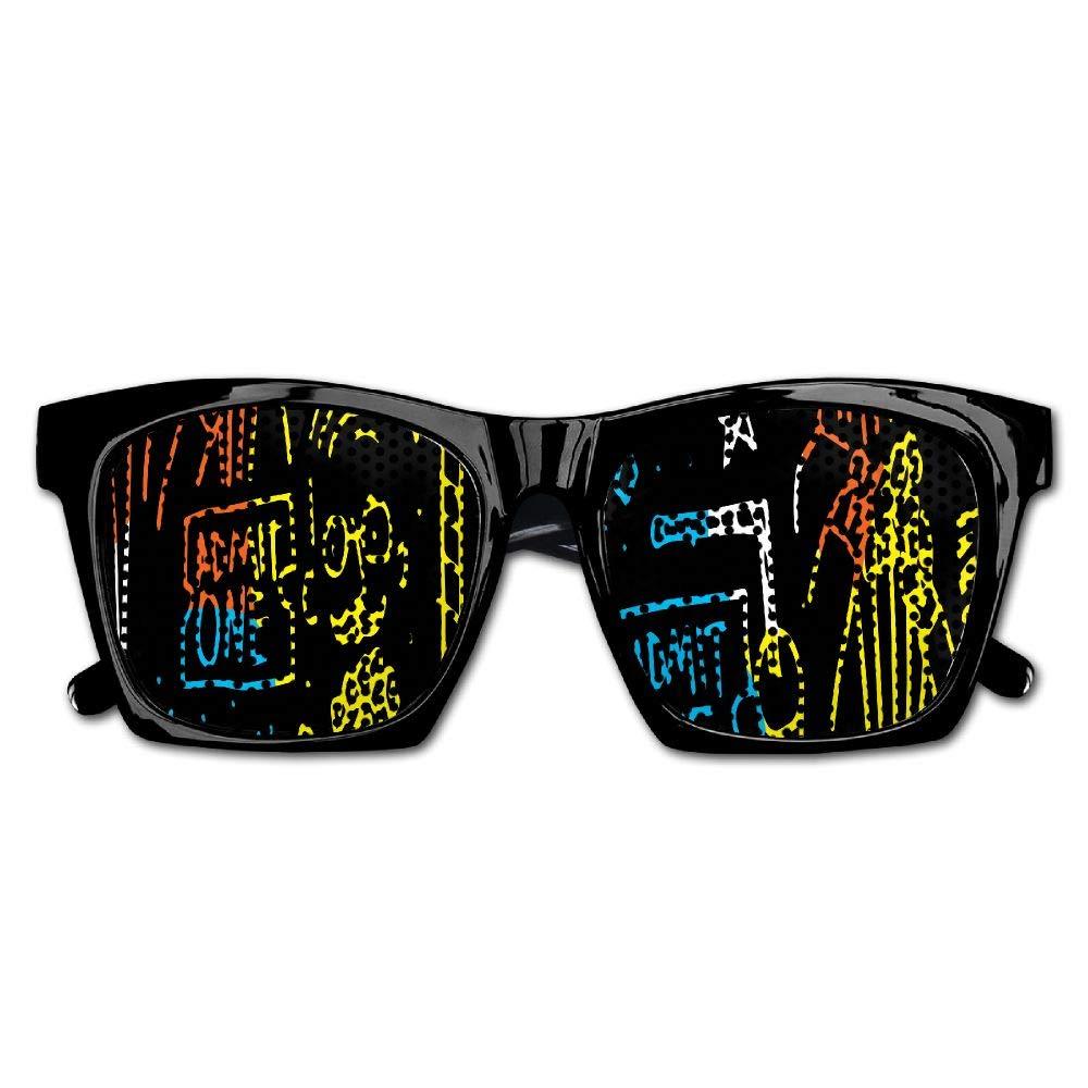 Xing Stars Colorful Summer Unisex Admit One Popcorn Color Painting Fashion Party Costume Sunglasses