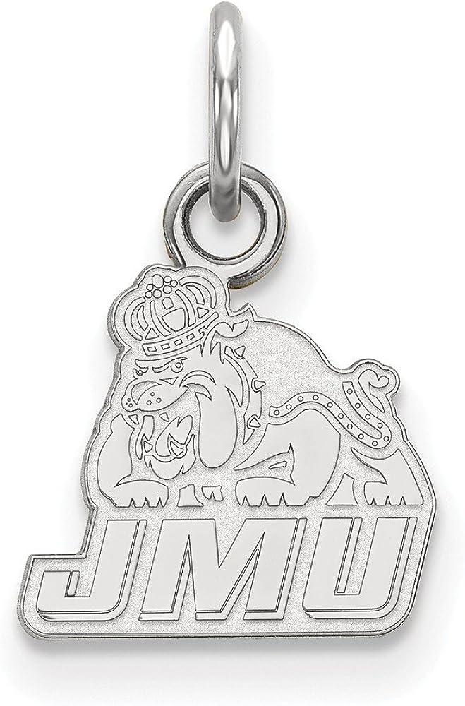 925 Sterling Silver Rhodium-plated Laser-cut James Madison University Small Pendant