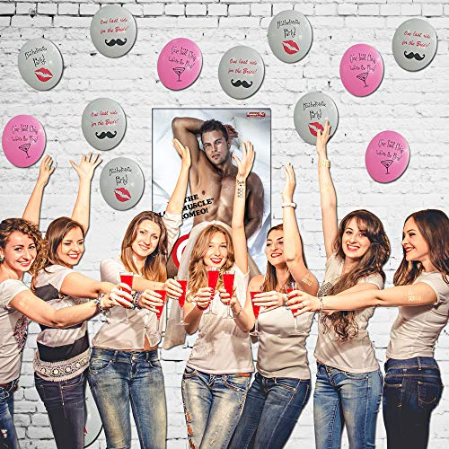 Bachelorette Party Games & Bachelorette Party Decorations | Pin The Love Muscle on Romeo Game | 12 Bachelorette Party Balloons | Girls Night Out - Bridal Showers - Drinking Party ()