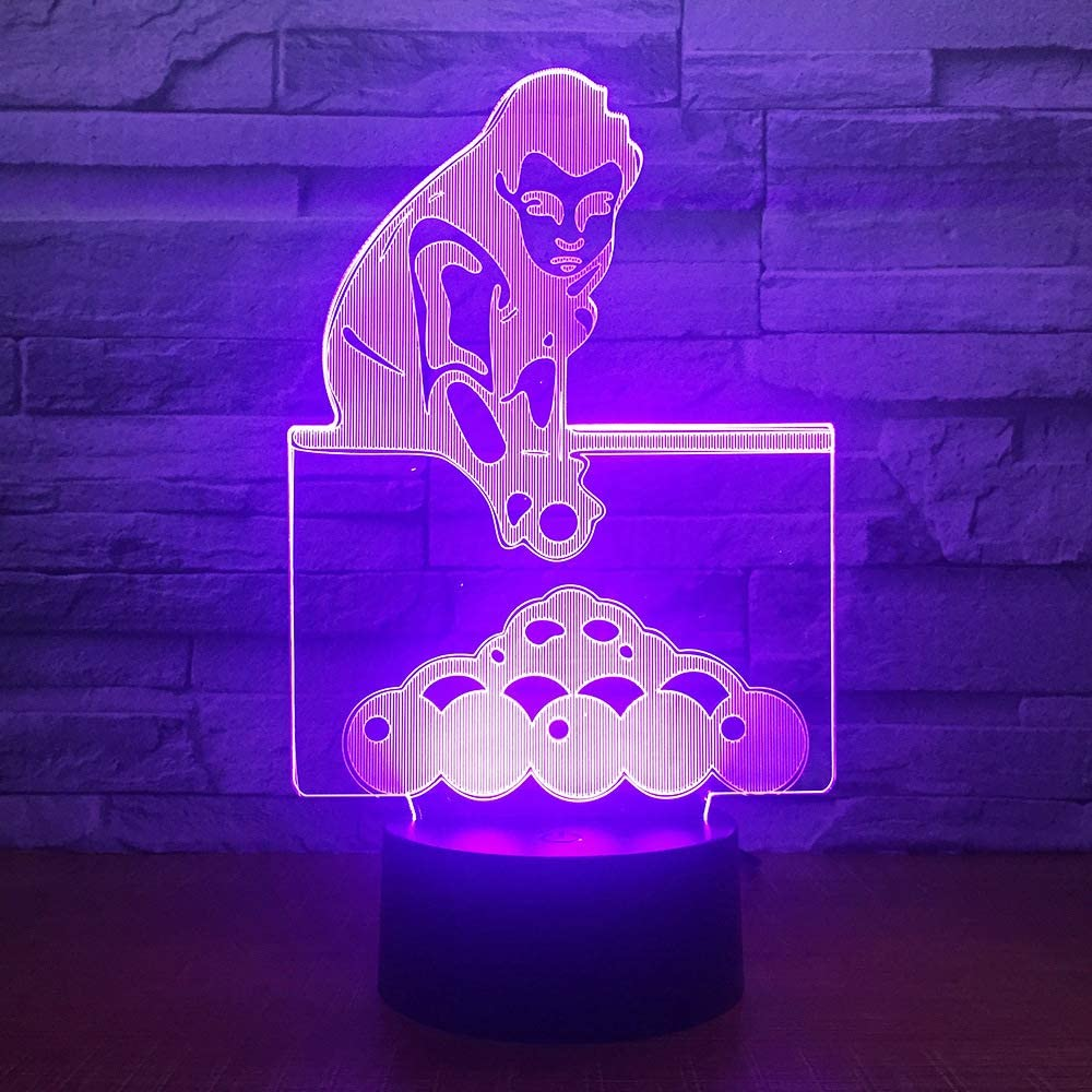 Juego de billar táctil con control remoto 3D LED 7 luces de color ...