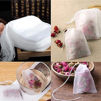 Favsonhome - Juego de 100 Bolsas de té vacías de 5,5 x 7 cm ...