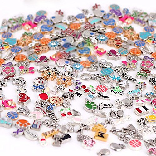Happy Hours - Top Quality 100 Pcs Newest Mixed Floating Charms DIY Assorted for Glass Living Memory Floating Lockets Pendant