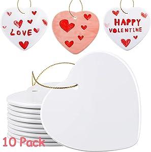 WILLBOND 10 Packs Sublimation Ceramic Ornament Heart Porcelain Ornament Blank Ceramic Ornament for DIY Crafts Valentine