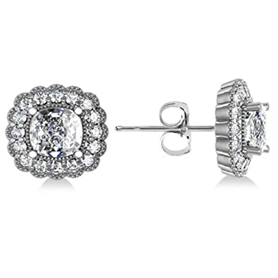 Allurez 14kt White Gold Flower Diamond Leverback Earrings eFbCI5P