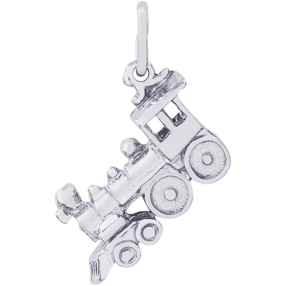 Rembrandt Charms 14K White Gold Train Charm (0.34 x 0.72 inches)