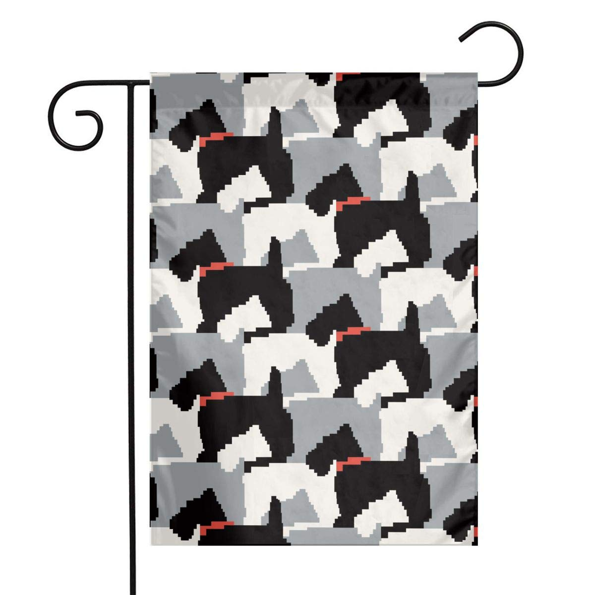Black Scottie Dogs Garden Flags House Indoor & Outdoor Welcome Decorations,Waterproof Polyester Yard Decorative for Game Family Party Banner
