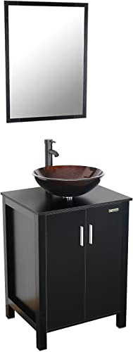 Eclife MDF Top Spacious Space Bathroom Vanity and Mirror Combo Black 24 inch with Tempered Glass Countertop Vessel Sink Bowl Combo include Bathroom Sink Faucet and Pop Up Drain A1B4