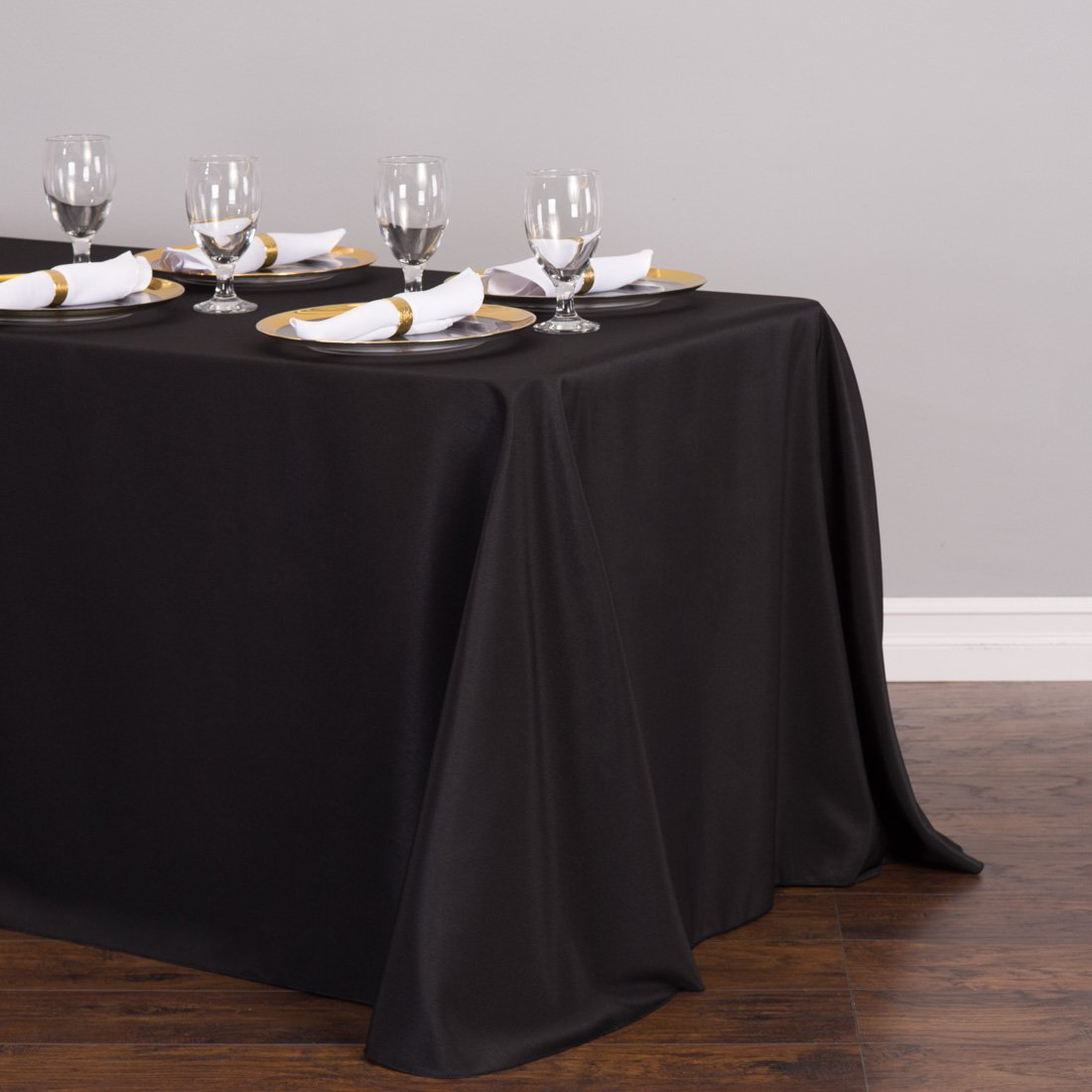 LinenTablecloth 90 x 132-Inch Rectangular Polyester Tablecloth with rounded corners Black by LinenTablecloth (Image #2)