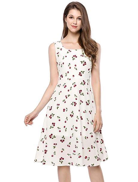 Allegra K Vestido Midi Vintage Sin Mangas Con Estampado De Cerezas Para Mujer - Blanco/