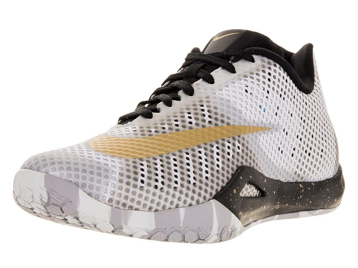 32e30db0e8314 Nike Mens Hyperlive White/Mtllc Gold/Blck/Pr Pltnm Basketball Shoe ...