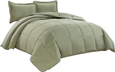 Chezmoi Collection 3 Piece Down Alternative Comforter Set Oversized King Sage Green Amazon Ca Home Kitchen