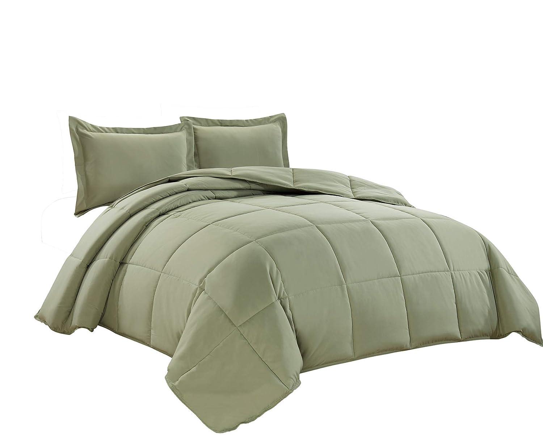 Chezmoi Collection 3-Piece Down Alternative Comforter Set (Queen, Sage Green)