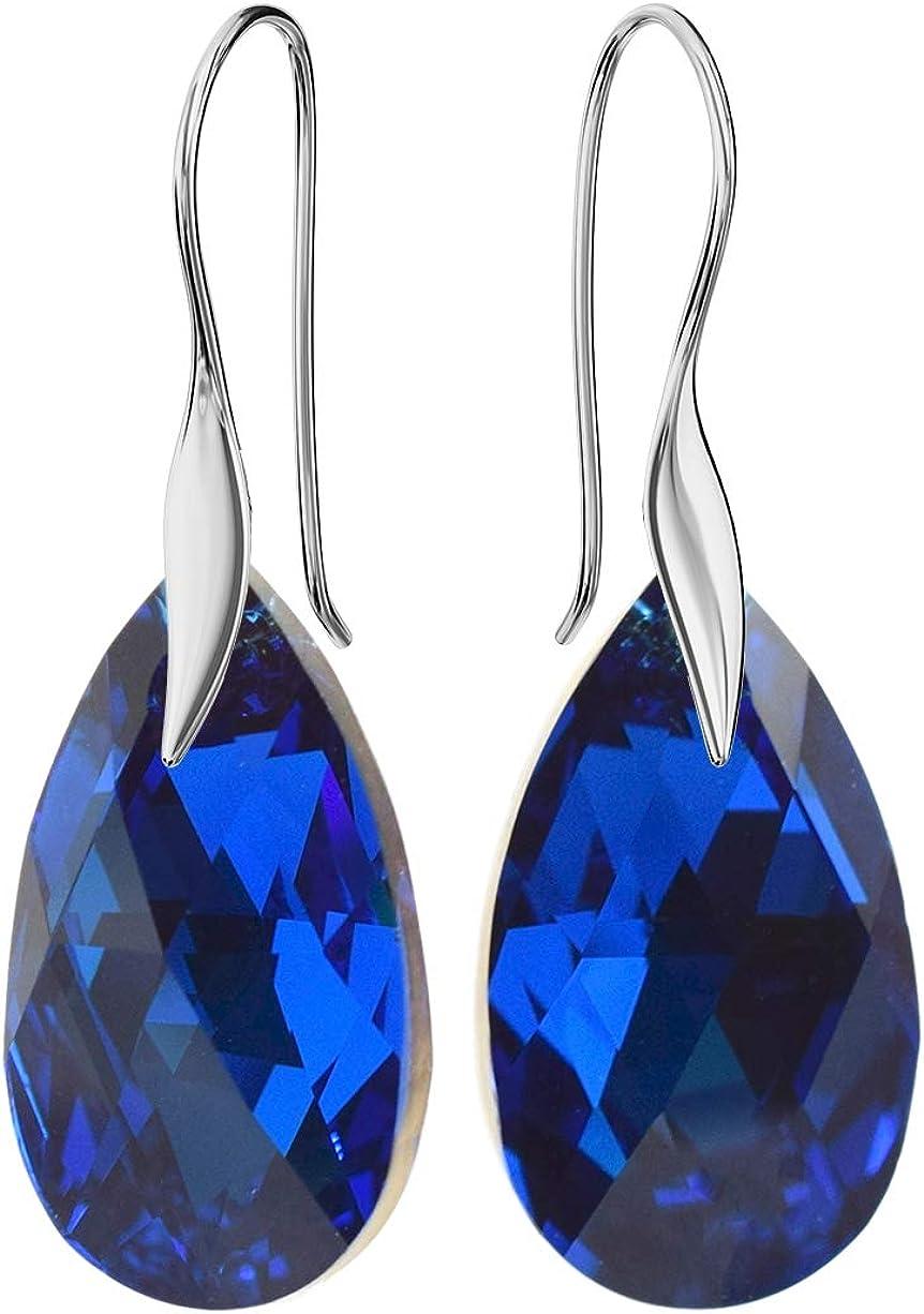 Crystals&Stones - Pendientes *Mandele* 22 mm color zafiro – bonitos pendientes de mujer con cristales de Swarovski Elements, fantásticos pendientes con estuche