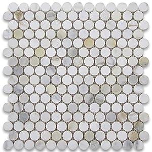 calacatta gold italian calcutta marble penny round mosaic tile 34 inch polished