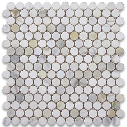 Calacatta Gold Italian Calcutta Marble Penny Round Mosaic Tile 3/4 inch Polished
