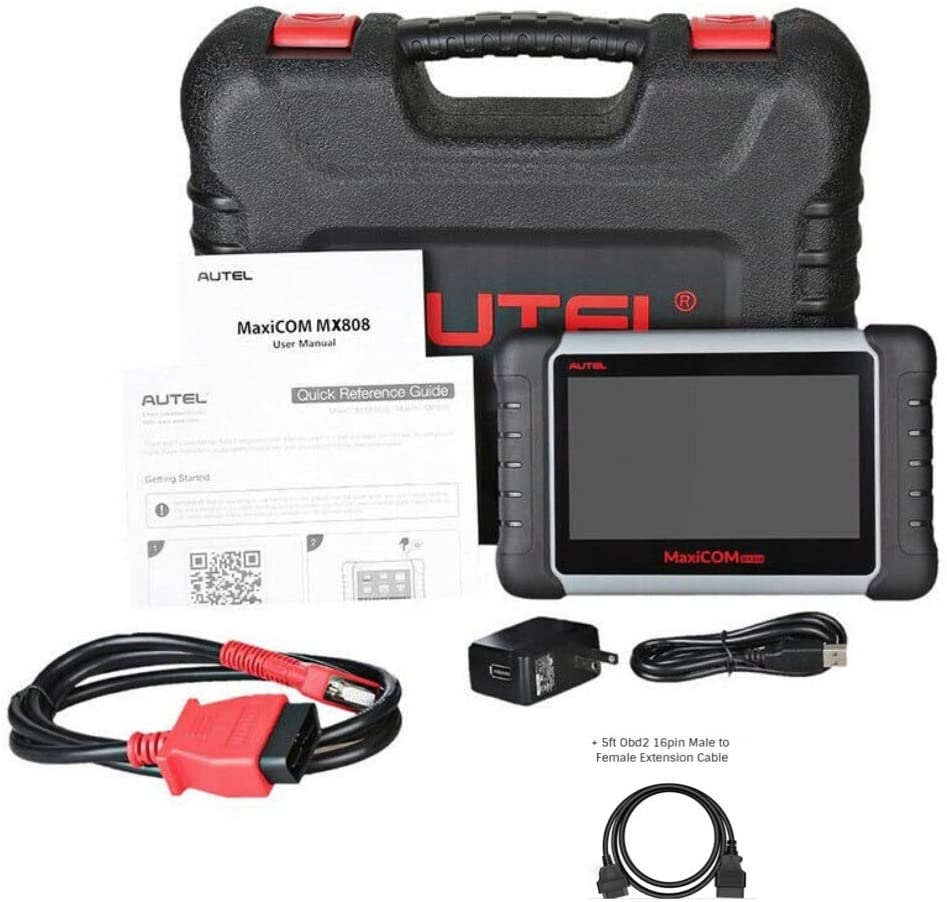 Autel MaxiCheck MaxiCOM Extension Cable MX808/MK808 Professional OBD2 Scanner Diagnostic Tool, with Full System Diagnosis & IMMO/EPB/SAS/BMS/TPMS/DPF, Same functionalities of MK808BT (MX808)