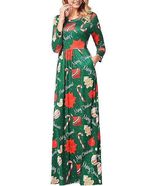 Vestido de Navidad para Mujer Fiesta de Navidad con Estampado de Navidad Vestido Largo y Largo