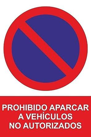 MovilCom® - Señal PROHIBIDO APARCAR VEHICULO NO AUTORIZADO PVC 0,7mm 300X400mm Señal prohibición (ref.RD41038)