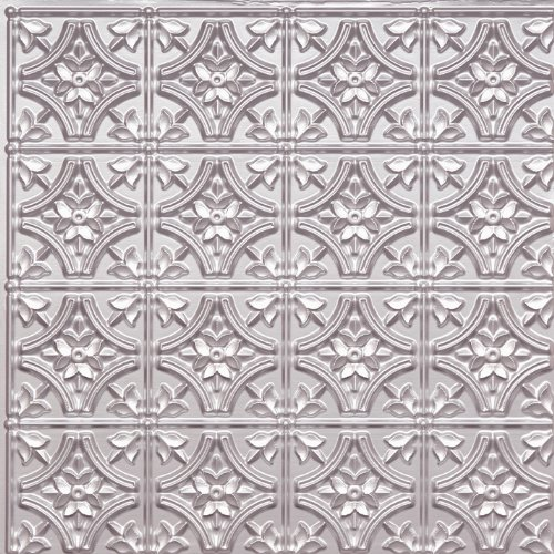 (Wall Cover Plastic Ceiling Tile #150 Tin Silver 2x2 Fire Rated Can Be Glue on Any Flat Surfase,Nail On,Staple On,Tape On!)